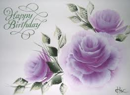 happy birthday card with purple flowers