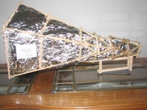 wood, aluminum foil and glue megaphone award
