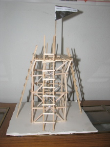 wood, aluminum foil and glue tower