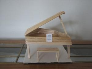 wood, aluminum foil and glue piano