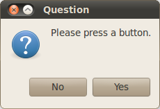 Windows dialog with Yes No responses