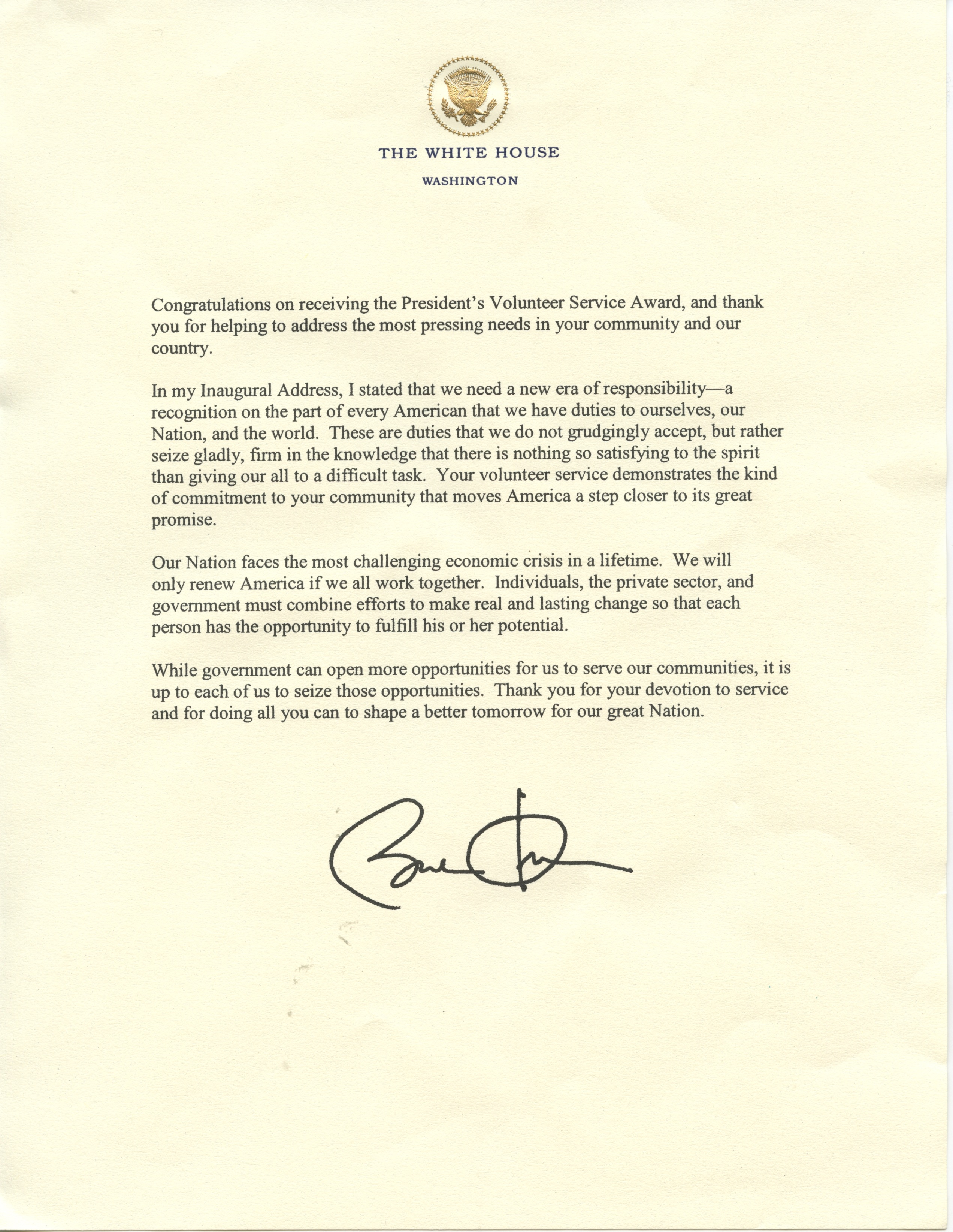 Post-Christmas Resolution, Day 252 – A Letter From The President