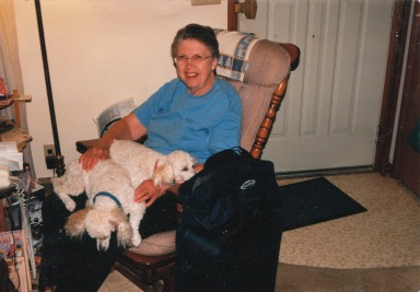 My mother, Lorraine, from a few years ago. Peaches and Brandy are the lap dogs.