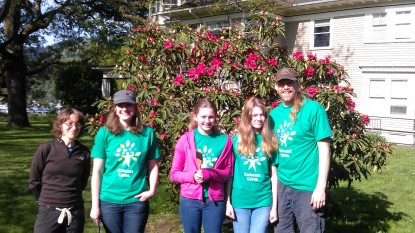 Our small volunteer crew in front of Open Meadow alternative school in Portland
